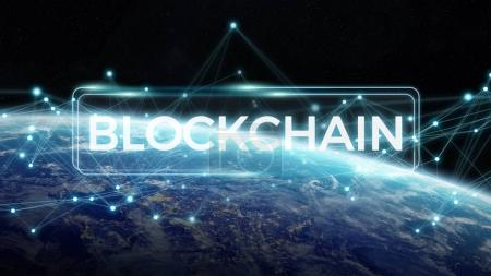 Blockchain on planet Earth 3D rendering