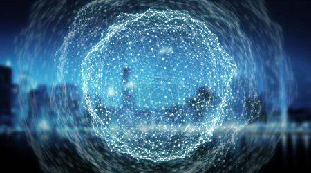 Photo pour Connexions sphère système et échanges globaux de données sur fond de ville rendu 3D - image libre de droit