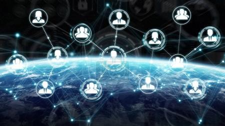 Digital social network on planet Earth 3D rendering