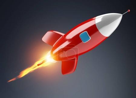 Isolated modern digital rocket 3D rendering