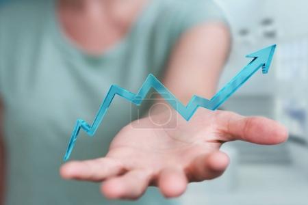Businesswoman using digital modern arrow 3D rendering