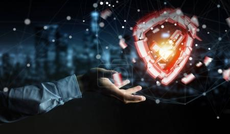 Photo for Businessman on blurred background facing security break 3D rendering - Royalty Free Image
