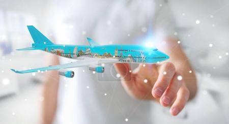 Photo for Businessman on blurred background with plane and famous landmarks of the world 3D rendering - Royalty Free Image