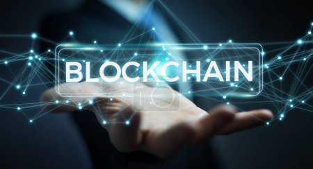 Businessman using blockchain cryptocurrency interface 3D renderi