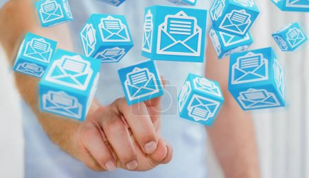 Businessman using floating cube emails 3D rendering
