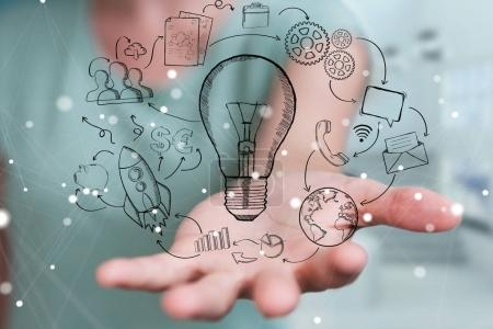 Businesswoman touching and holding sketch lightbulb