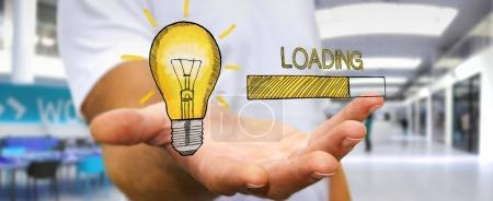 Businessman holding and touching loading sketch