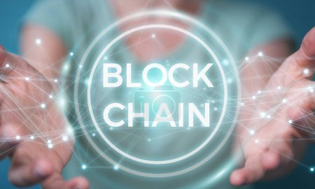 Photo for Businesswoman on blurred background using blockchain cryptocurrency interface 3D rendering - Royalty Free Image