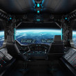 Spaceship grunge interior with view on planet Eart...