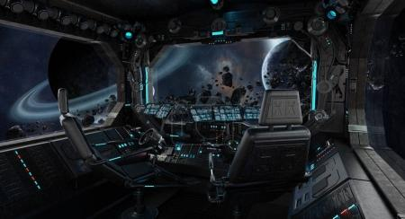 Spaceship grunge interior with view on exoplanet