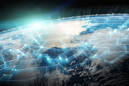 Connections system and datas exchanges on planet Earth 3D render