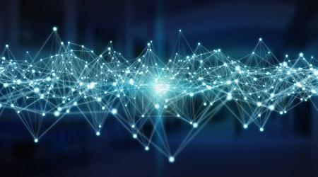 Photo pour Système de connexions et échanges de données globaux sur fond de serveur rendu 3D - image libre de droit
