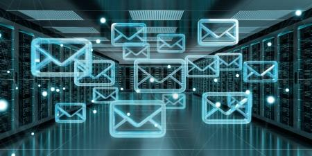 Emails exchange over server room data center 3D rendering