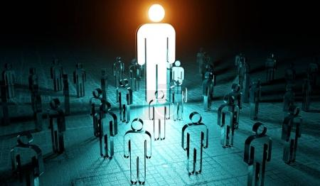 Leader illuminating a group of people 3D rendering