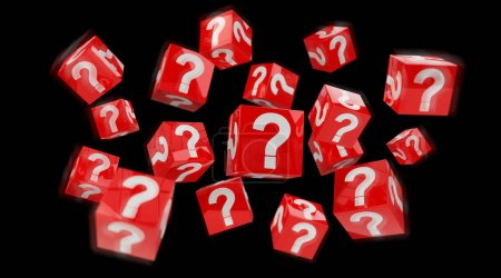 Cubes with 3D rendering question marks