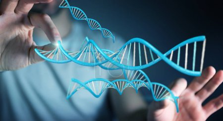 Businessman using modern DNA structure 3D rendering