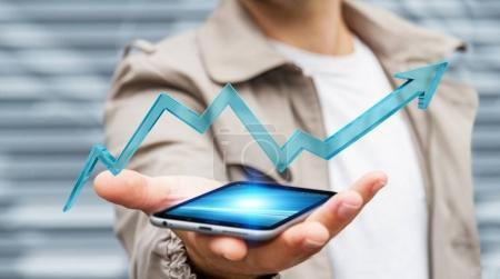 Businessman using digital modern arrow 3D rendering