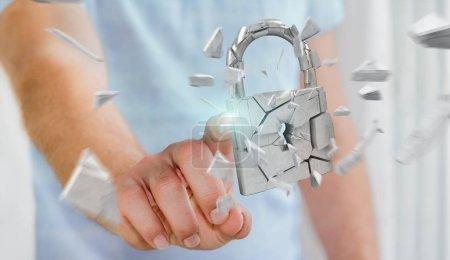Businessman hacking in broken padlock security 3D rendering