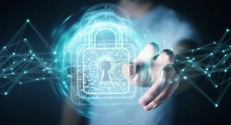 Businessman using digital padlock with data protection 3D render