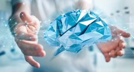 Businessman using digital x-ray human brain interface 3D renderi