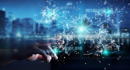 Photo for Businesswoman on blurred background using digital binary code connection network 3D rendering - Royalty Free Image