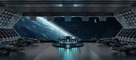 Photo for Huge blueish landing strip spaceship interior 3D rendering elements of this image furnished by NASA - Royalty Free Image
