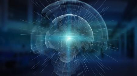Photo pour Connexions système sphère mondiale vue sur fond de serveur rendu 3d - image libre de droit