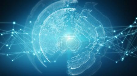 Photo pour Connexions système sphère mondiale vue sur fond bleu rendu 3d - image libre de droit