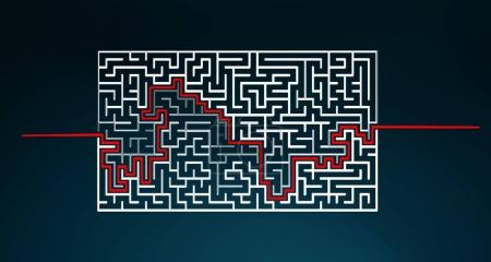 Photo for Hand-drawn maze with solution sketch on blue background - Royalty Free Image