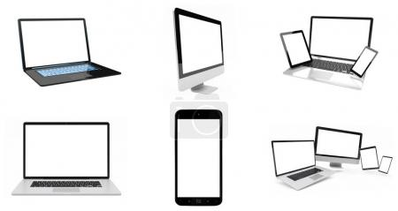 Modern digital silver tech device pack 3D rendering