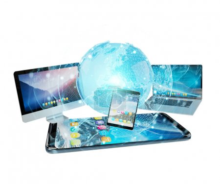 Tech devices and icons applications connected 3D rendering