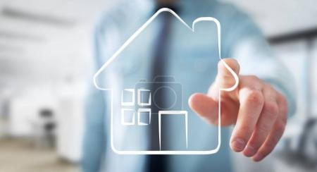 Businessman touching manuscript real estate plan project
