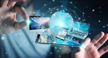 Photo for Businessman connecting tech devices and icons applications with each other 3D rendering - Royalty Free Image