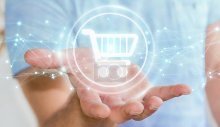 Businessman using digital shopping icons with connections 3D ren
