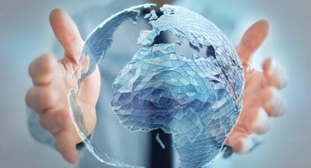 Businessman holding global network on planet earth 3D rendering