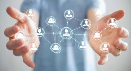 Photo for Businessman on blurred background using social network connection 3D rendering - Royalty Free Image