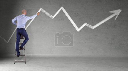Businessman drawing arrow sketch on a wall 3D rendering