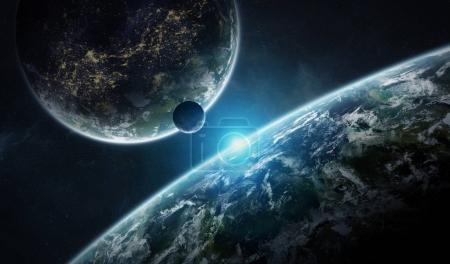 Photo pour Système de planètes lointaines dans l'espace avec des exoplanètes au cours des éléments de rendu 3d de lever cette image fournie par la Nasa - image libre de droit