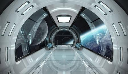 Spaceship interior with view on Earth 3D rendering elements of t