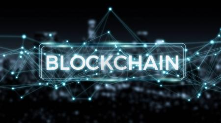 Photo for Blockchain connection on blurred city background 3D rendering - Royalty Free Image