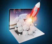 Rocket launching from a laptop 3D rendering