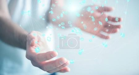 Photo for Businessman on blurred background using flying network connection interface 3D rendering - Royalty Free Image