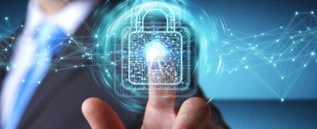 Photo pour Homme d'affaires sur fond flou en utilisant un cadenas numérique avec protection des données rendu 3D - image libre de droit