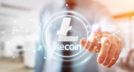 Businessman using litecoins cryptocurrency 3D rendering