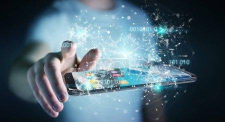 Photo pour Homme d'affaires sur fond flou en utilisant le code binaire numérique sur le rendu 3D du téléphone mobile - image libre de droit