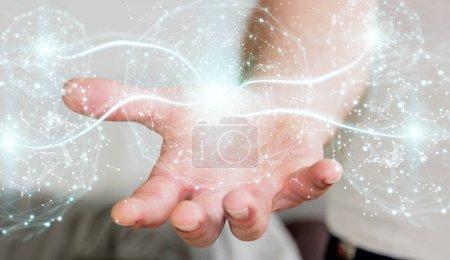 Businessman using digital network connection sphere 3D rendering