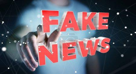 Photo pour Homme d'affaires sur l'arrière-plan flou, découvrir de nouvelles fausses rendu 3d informations - image libre de droit