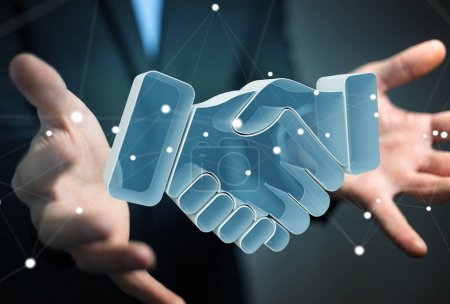 Photo for Businessman on blurred background concluding a partnership 3D rendering - Royalty Free Image
