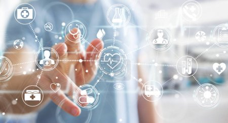 Photo for Businessman on blurred background using digital medical interface 3D rendering - Royalty Free Image
