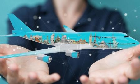 Businessman with plane and famous landmarks of the world 3D rend